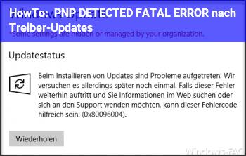 HowTo PNP_DETECTED_FATAL_ERROR nach Treiber-Updates