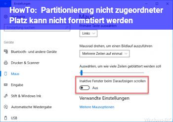 HowTo Partitionierung/ nicht zugeordneter Platz kann nicht formatiert werden