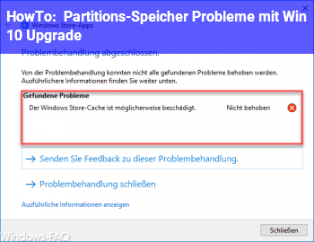 HowTo Partitions-Speicher Probleme mit Win 10 Upgrade
