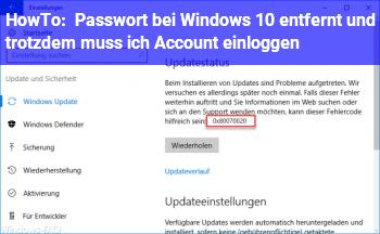 HowTo Passwort bei Windows 10 entfernt und trotzdem muss ich Account einloggen