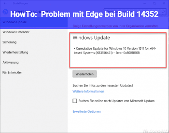 HowTo Problem mit Edge bei Build 14352
