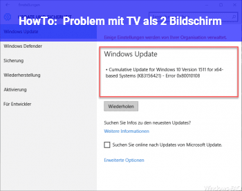 HowTo Problem mit TV als 2. Bildschirm
