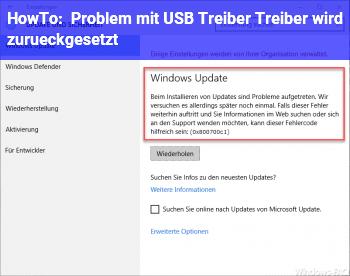 HowTo Problem mit USB Treiber / Treiber wird zurückgesetzt