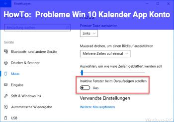 HowTo Probleme Win 10 Kalender App / Konto