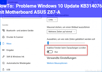 HowTo Probleme Windows 10 Update KB3140768 mit Motherboard ASUS Z87-A