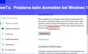 HowTo Probleme beim Anmelden bei Windows 10