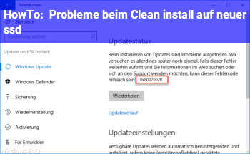 HowTo Probleme beim Clean install auf neuer ssd