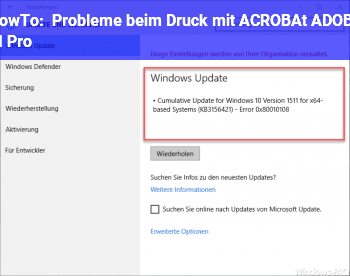 HowTo Probleme beim Druck mit ACROBAt ADOBE XI Pro