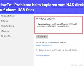 HowTo Probleme beim kopieren vom NAS direkt auf einem USB Stick