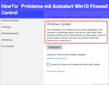 HowTo Probleme mit Autostart (Win10 Firewall Control)