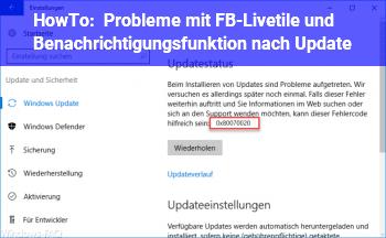 HowTo Probleme mit FB-Livetile und Benachrichtigungsfunktion nach Update