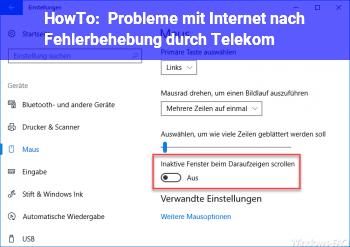 HowTo Probleme mit Internet nach Fehlerbehebung durch Telekom