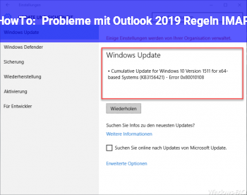 HowTo Probleme mit Outlook 2019 (Regeln / IMAP)