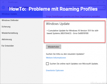 HowTo Probleme mit Roaming Profiles