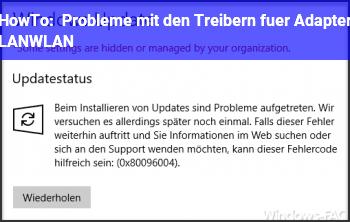 HowTo Probleme mit den Treibern für Adapter LAN/WLAN