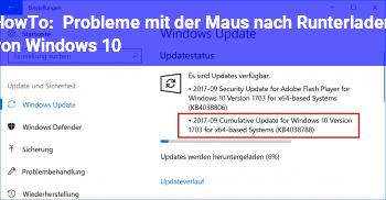 HowTo Probleme mit der Maus nach Runterladen von Windows 10