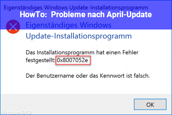 HowTo Probleme nach April-Update