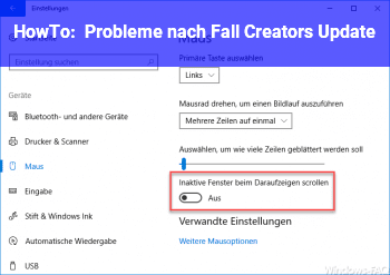 HowTo Probleme nach Fall Creators Update