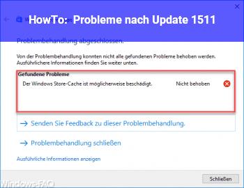 HowTo Probleme nach Update 1511