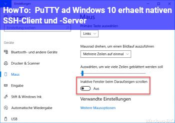 HowTo PuTTY adé: Windows 10 erhält nativen SSH-Client und -Server