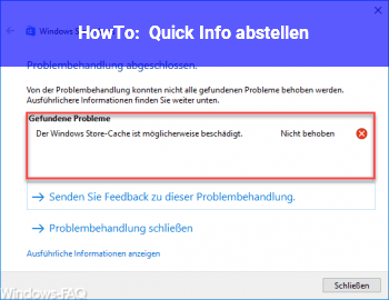 HowTo Quick Info abstellen