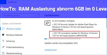 HowTo RAM Auslastung abnorm: 6GB im 0 Level