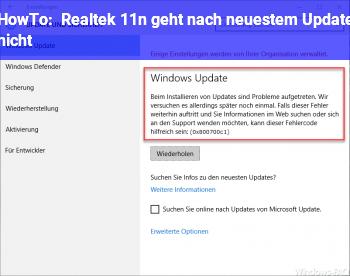 HowTo Realtek 11n geht nach neuestem Update nicht