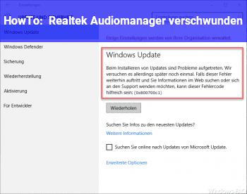 HowTo Realtek Audiomanager verschwunden