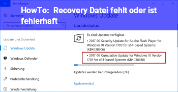 HowTo Recovery Datei fehlt oder ist fehlerhaft