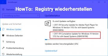 HowTo Registry wiederherstellen