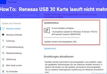 HowTo Renesas USB 3.0 Karte läuft nicht mehr