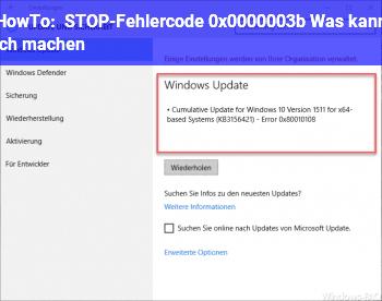 HowTo STOP-Fehlercode: 0x0000003b Was kann ich machen?