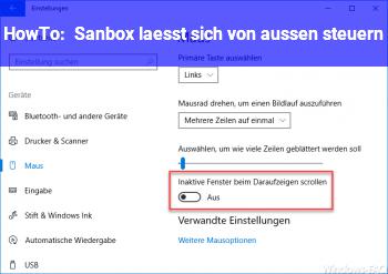 HowTo Sanbox lässt sich von außen steuern