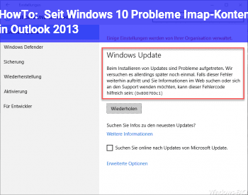HowTo Seit Windows 10 Probleme Imap-Konten in Outlook 2013