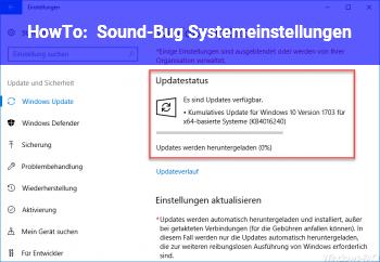 HowTo Sound-Bug (Systemeinstellungen)