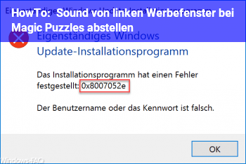 HowTo Sound von linken Werbefenster bei Magic Puzzles abstellen.