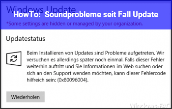 HowTo Soundprobleme seit Fall Update