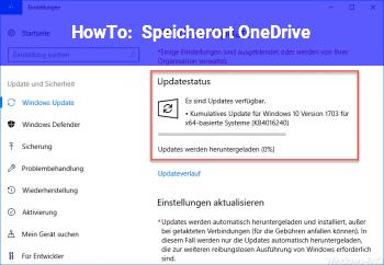 HowTo Speicherort OneDrive