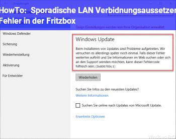 HowTo Sporadische LAN Verbidnungsaussetzer (Fehler in der Fritzbox?)