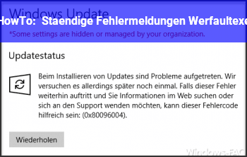 HowTo Ständige Fehlermeldungen Werfault.exe