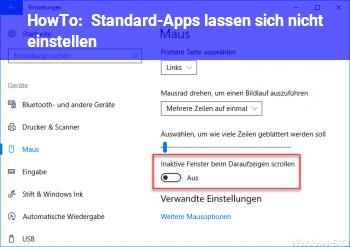 HowTo Standard-Apps lassen sich nicht einstellen