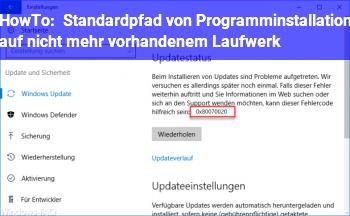 HowTo Standardpfad von Programminstallation auf nicht mehr vorhandenem Laufwerk
