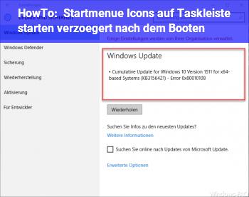 HowTo Startmenü + Icons auf Taskleiste starten verzögert nach dem Booten