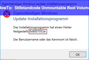 HowTo Stillstandcode: Unmountable Boot Volume