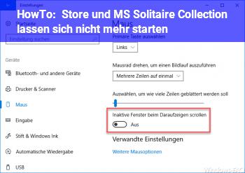 HowTo Store und MS Solitaire Collection lassen sich nicht mehr starten