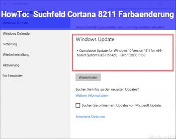 HowTo Suchfeld Cortana – Farbänderung?