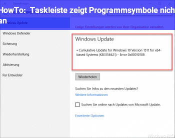 HowTo Taskleiste zeigt Programmsymbole nicht an