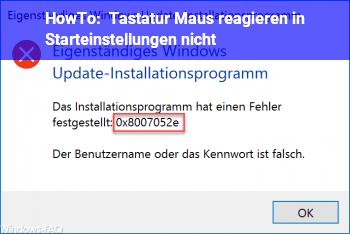 """HowTo Tastatur & Maus reagieren in """"Starteinstellungen"""" nicht"""