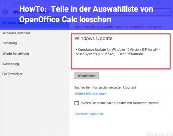 """HowTo Teile in der Auswahlliste von OpenOffice"""" Calc"""" löschen."""