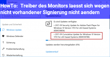 HowTo Treiber des Monitors lässt sich wegen nicht vorhandener Signierung nicht ändern